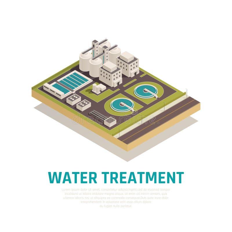 Composición isométrica del tratamiento de aguas ilustración del vector