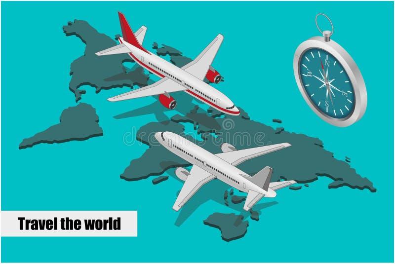 Composición isométrica del viaje libre illustration