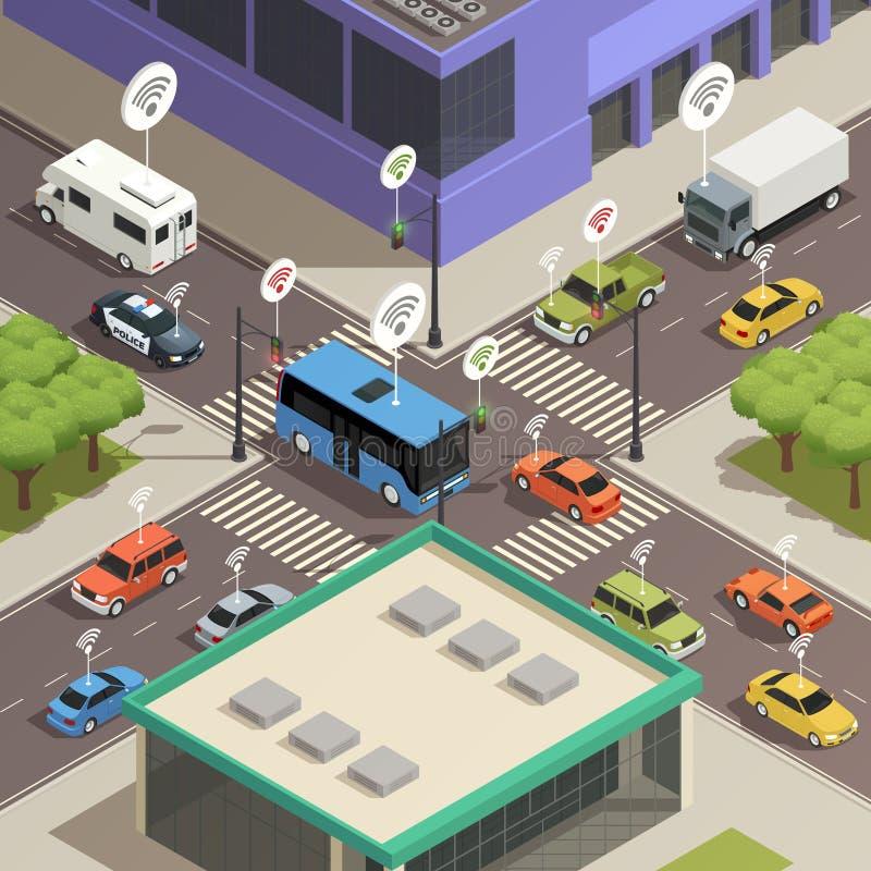 Composición isométrica elegante del tráfico de ciudad libre illustration