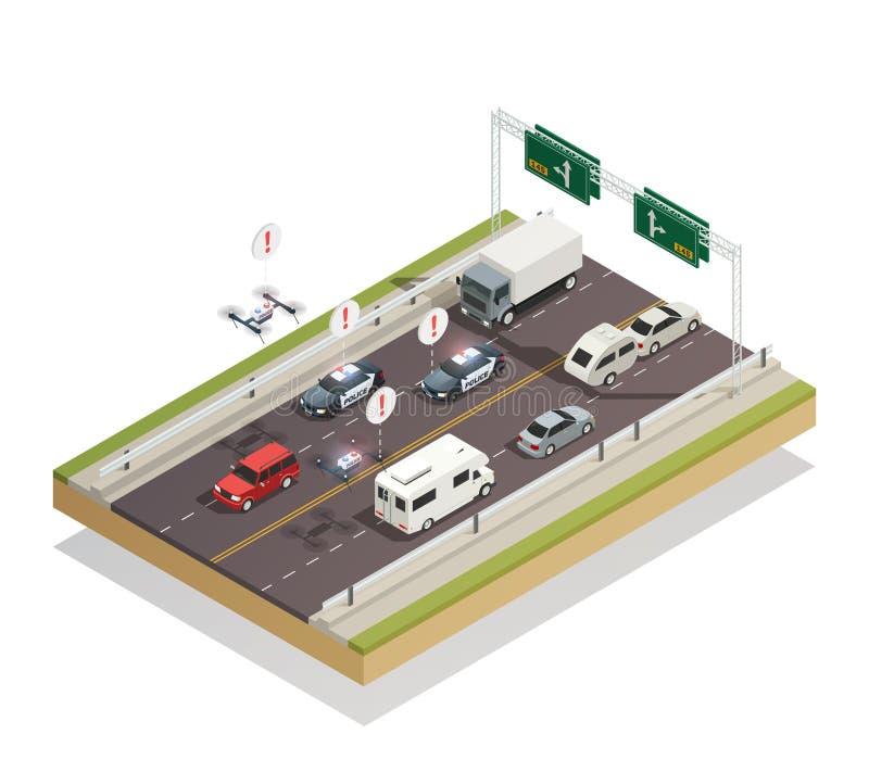 Composición isométrica elegante del tráfico de ciudad ilustración del vector