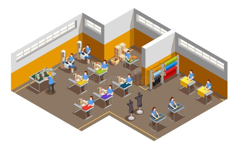 Composición isométrica interior de la fábrica de la ropa ilustración del vector