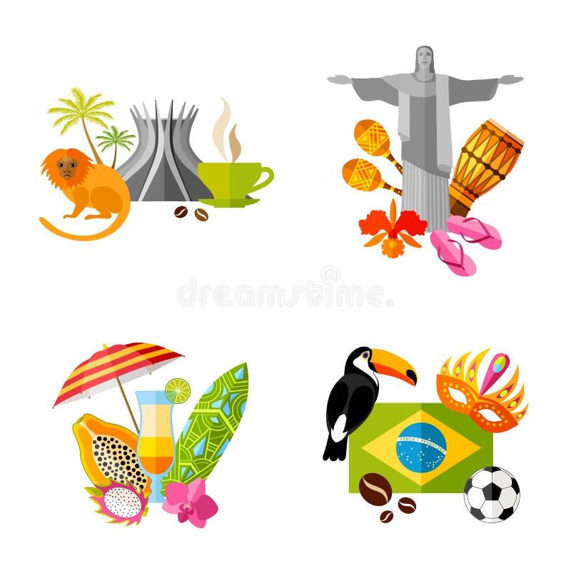 Composición lista de los símbolos de los iconos del Brasil Vector libre illustration