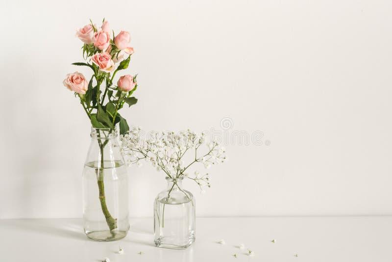 Composici?n minimalistic elegante rom?ntica con las rosas y las flores del gypsophila Maqueta imágenes de archivo libres de regalías