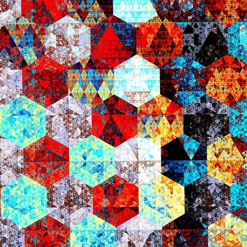 Composición moderna del arte abstracto Diseño artístico del modelo de la materia textil Estilo psicodélico Fondo azul rojo Ilustr ilustración del vector