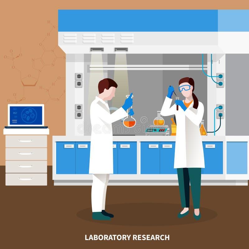 Composición multicolora de la gente de los científicos stock de ilustración