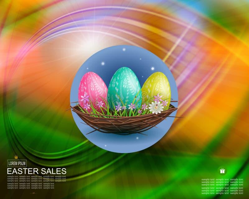 Composición multicolora de Pascua con tres huevos en una jerarquía, postal ilustración del vector