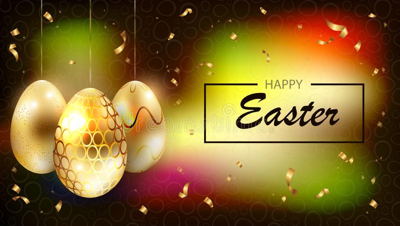 Composición multicolora oscura de Pascua con las siluetas de huevos de oro con brillo, libre illustration