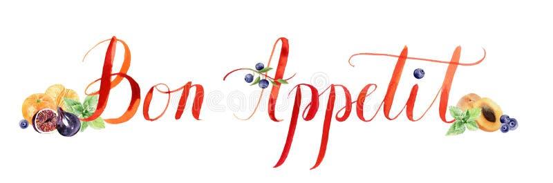 Composición pintada a mano Bon Appetit de las letras de la acuarela con ilustración del vector