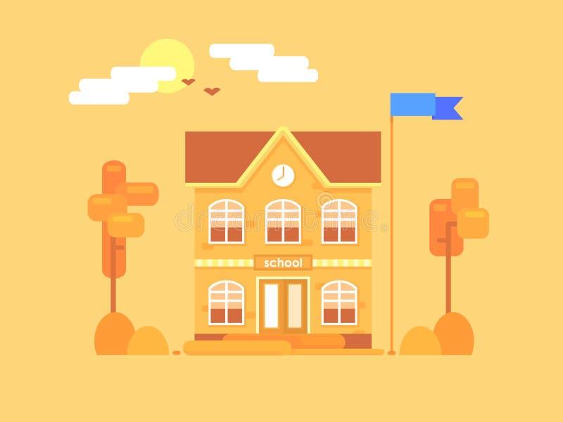 Composición plana de la escuela Él tiempo del ` s para el otoño fotos de archivo