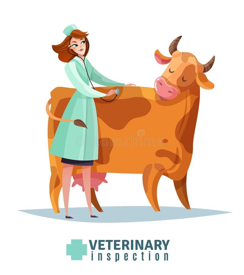 Composición plana de la inspección veterinaria ilustración del vector