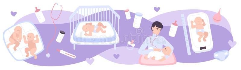 Composición plana de la pediatría stock de ilustración