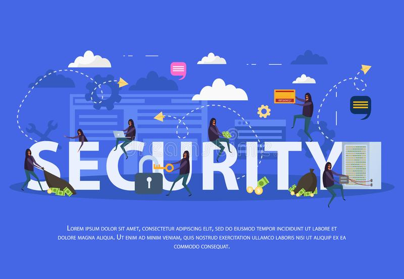 Composición plana de la seguridad cibernética stock de ilustración