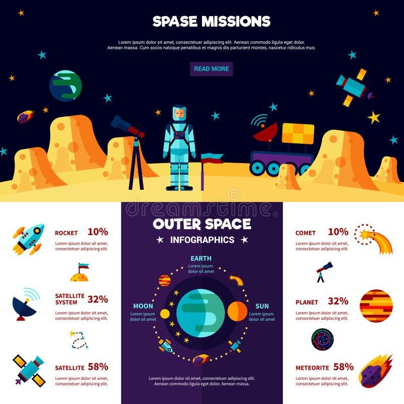 Composición plana de las banderas de las misiones espaciales externas ilustración del vector