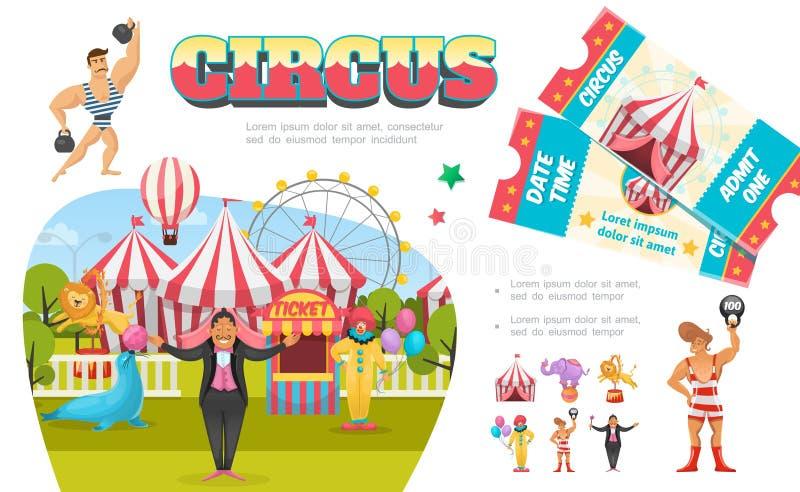 Composición plana de los elementos del circo libre illustration