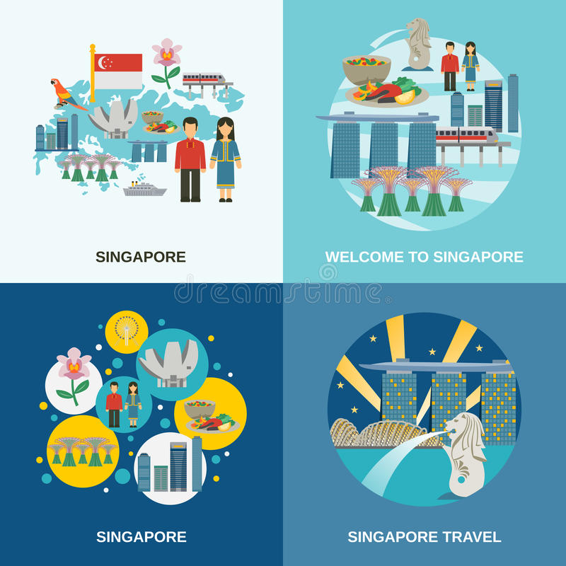 Composición plana de los iconos de la cultura 4 de Singapur ilustración del vector