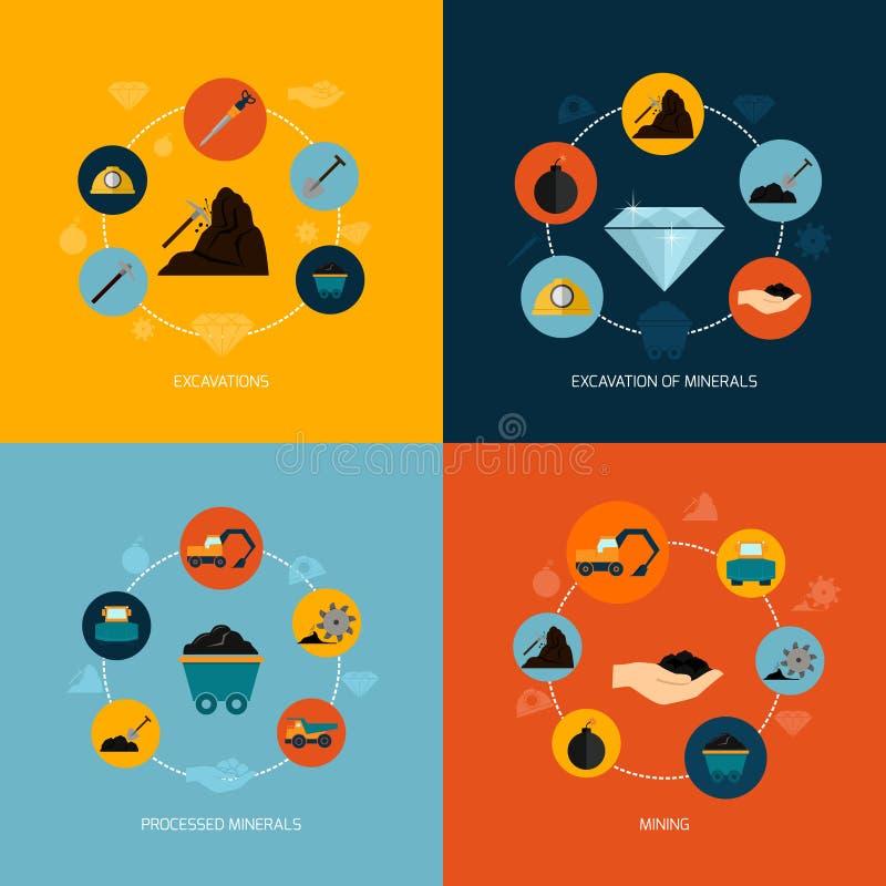 Composición plana de los iconos de la explotación minera libre illustration