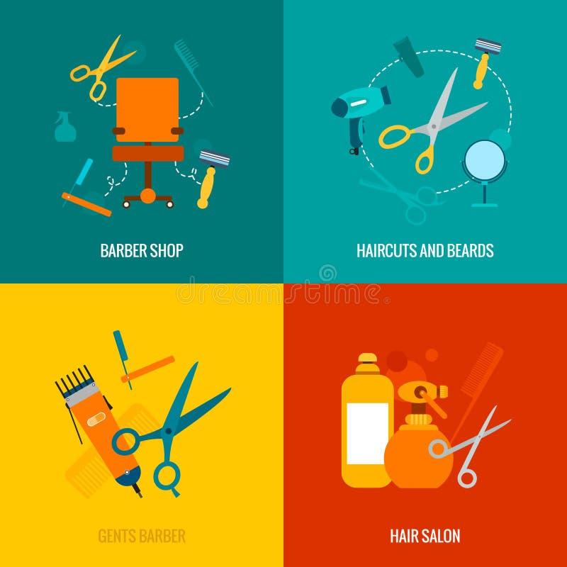 Composición plana de los iconos de la peluquería de caballeros ilustración del vector