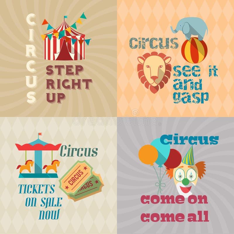 Composición plana de los pictogramas del vintage del circo ilustración del vector