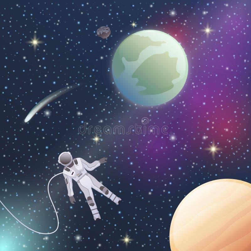 Composición plana de In Outer Space del astronauta ilustración del vector