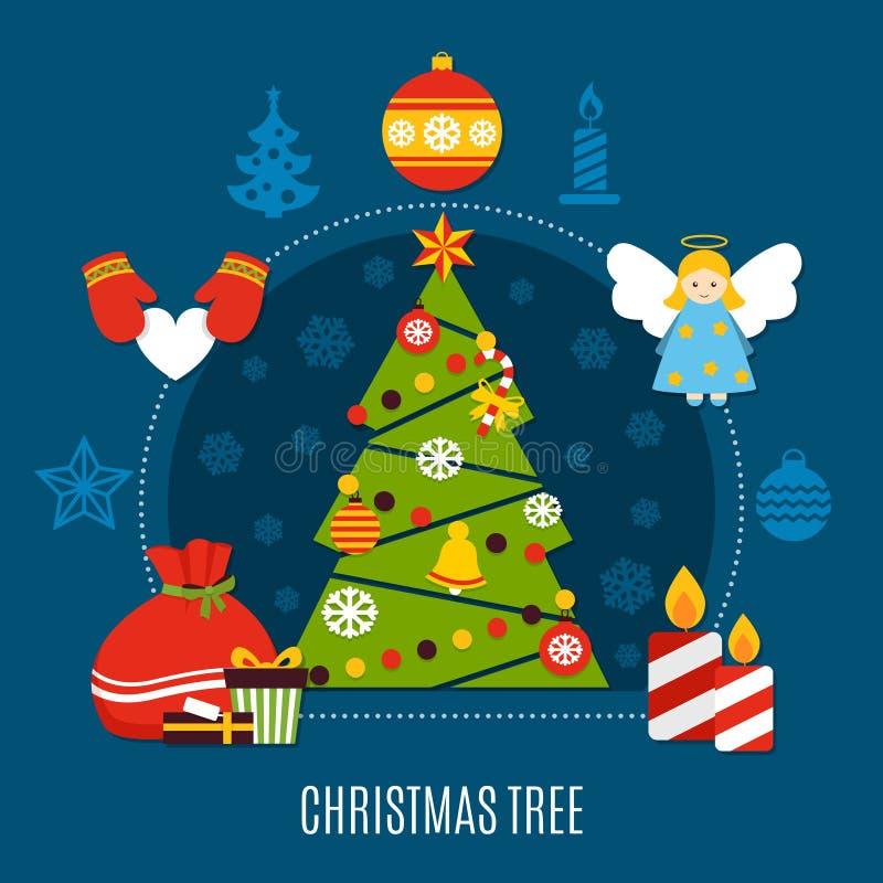 Composición plana del árbol de navidad stock de ilustración