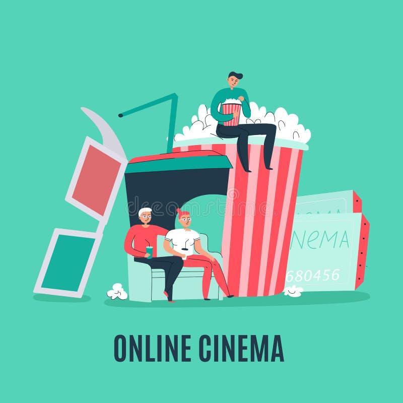 Composición plana del cine stock de ilustración