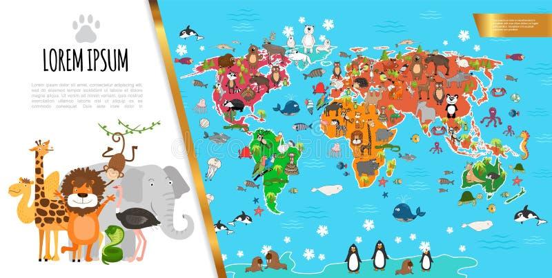 Composición plana del mapa del mundo de la fauna libre illustration