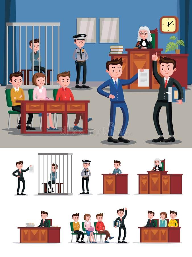 Composición plana del sistema legal ilustración del vector
