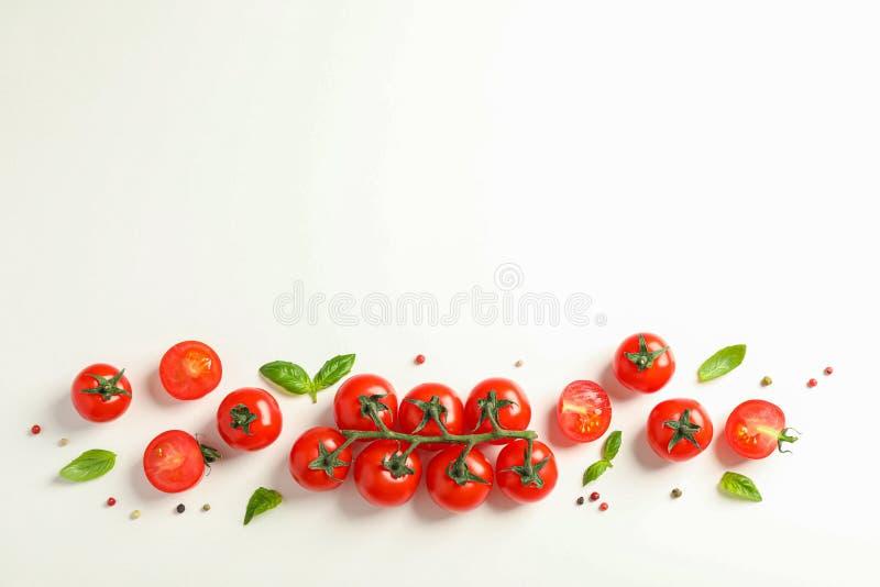 Composición puesta plana con los tomates, la pimienta y la albahaca frescos de cereza en el fondo blanco, espacio para el texto imagen de archivo