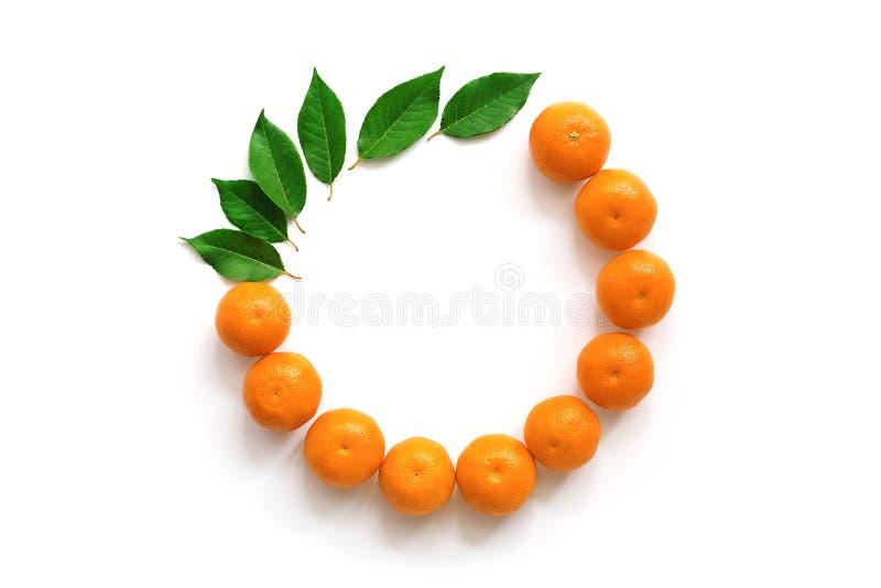 Composición puesta plana de mandarinas y de hojas en un fondo blanco, marco redondo overhead foto de archivo libre de regalías
