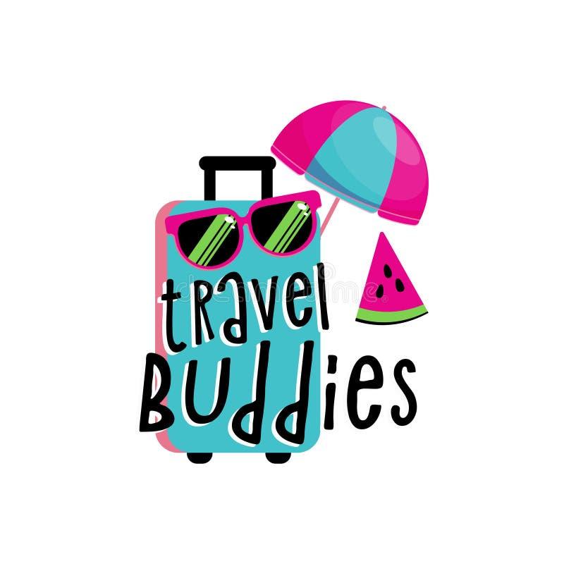 Composición que viaja de las vacaciones con el bolso abierto Concepto turístico de los sighns Concepto de las vacaciones de la to ilustración del vector