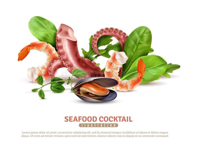 Composición realista del cóctel de los mariscos libre illustration