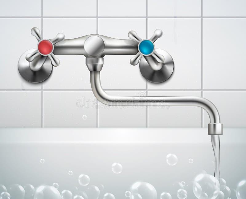 Composición realista del grifo del cuarto de baño ilustración del vector