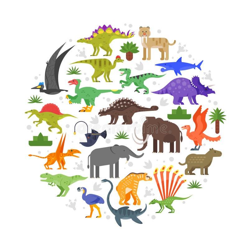 composición redonda de los iconos prehistóricos de los animales ilustración del vector