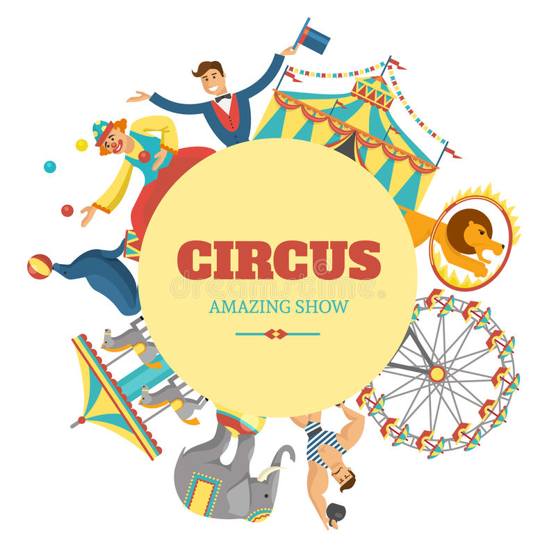 Composición redonda del circo stock de ilustración