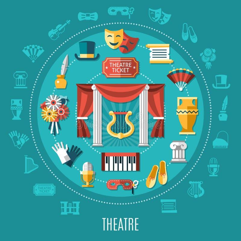 Composición redonda del teatro ilustración del vector