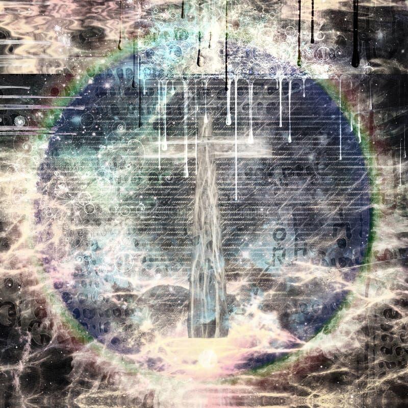 Composición religiosa abstracta stock de ilustración