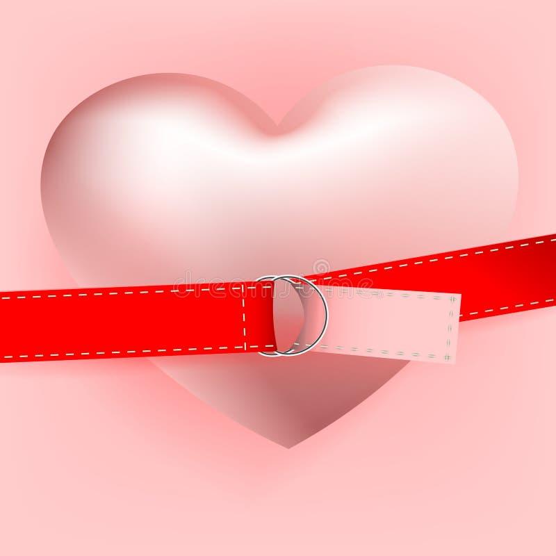 Composición rosa clara con un corazón rosado con una correa y un corchete del metal, postal libre illustration