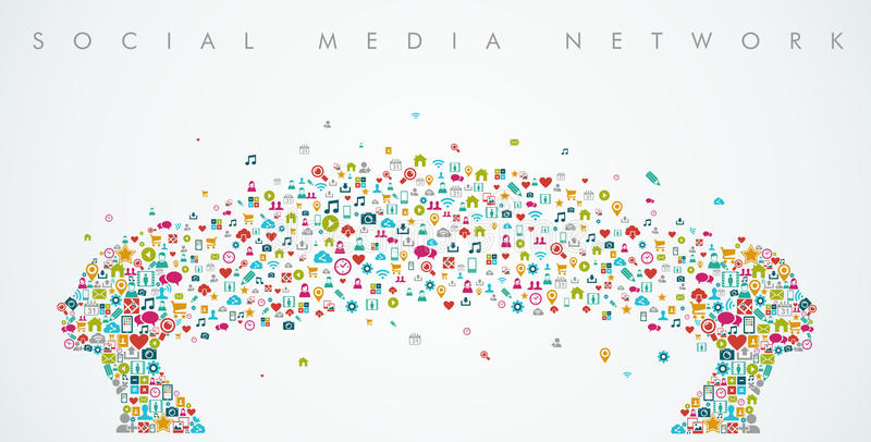 Composición social de la red de la forma de las cabezas de las mujeres medios stock de ilustración