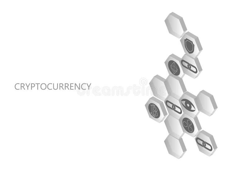 Composición sometric neutral del blanco gris de Blockchain Moneda plana de la ondulación de Bitcoin Ethereum del escudo de la seg stock de ilustración