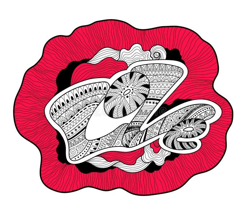 Composición torcida con amor de la palabra Doodle el estilo stock de ilustración