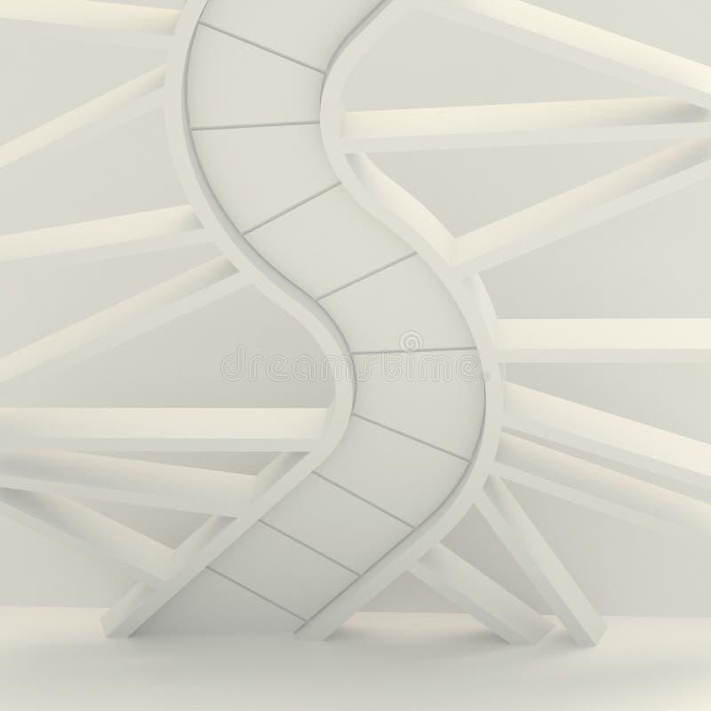 Composición tridimensional, sobre la base de la imagen de la escalera espiral, la molécula de la DNA, la serpiente stock de ilustración