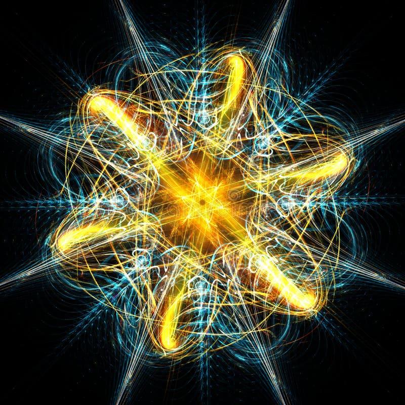 Composici?n azul y de oro de las ondas del fractal del extracto y de los decoratives stock de ilustración