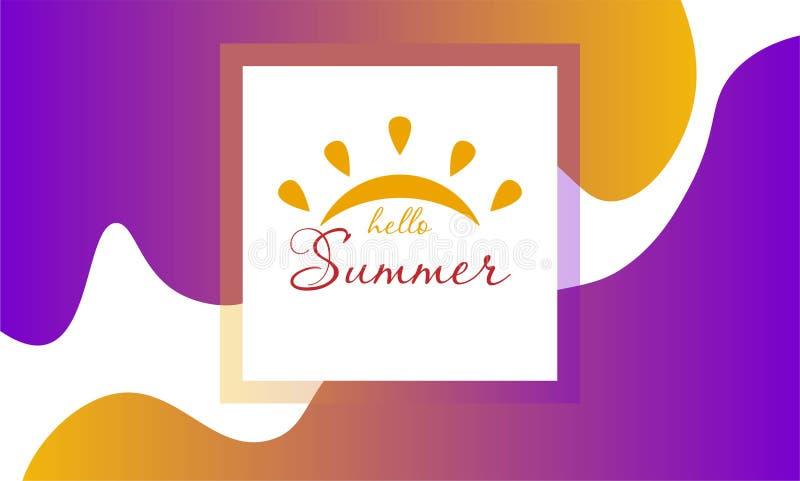 Composici?n de las letras del cepillo Hola verano Ilustraci?n EPS10 del vector stock de ilustración