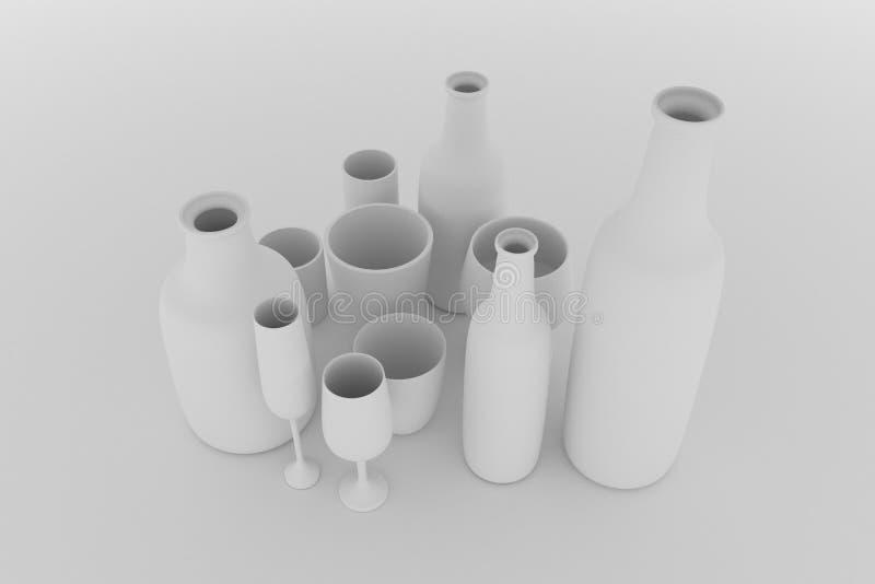 Composici?n del cgi, todav?a del concepture vida, botella y vidrio para la textura del dise?o, fondo Gris o b&w blanco y negro 3D libre illustration