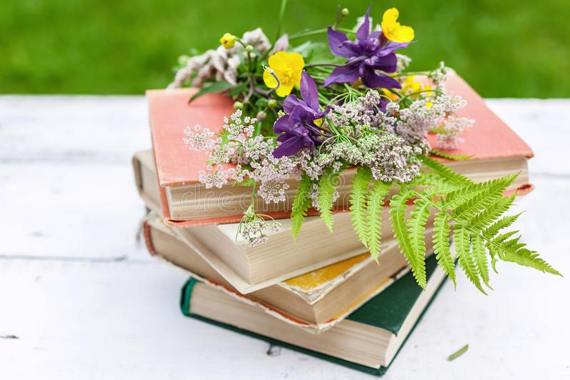 Composici?n del vintage del verano Libros viejos, un ramo de flores salvajes en un fondo rústico foto de archivo