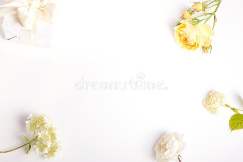 Composici?n festiva de la flor en el fondo blanco Visi?n de arriba fotos de archivo libres de regalías