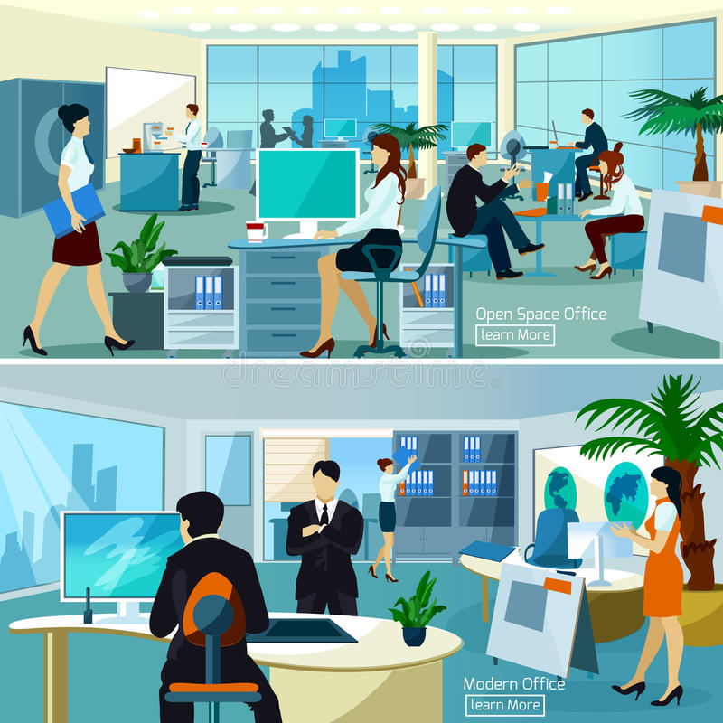 Composiciones de la oficina con los trabajadores ilustración del vector
