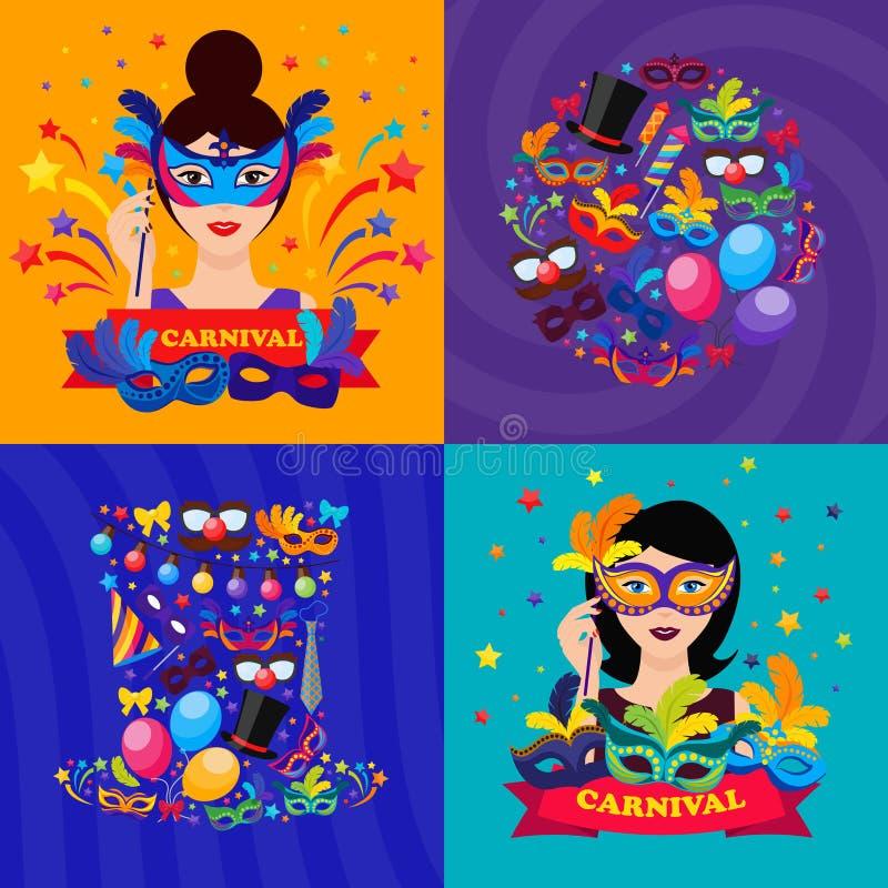 Composiciones del carnaval de la bola stock de ilustración