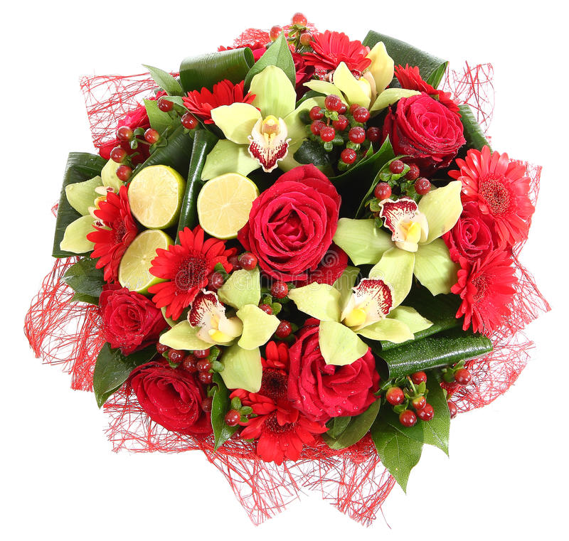 Composiciones florales de rosas rojas, de gerberas rojos y de orquídeas. La composición florística, diseña un ramo, arreglo floral imagen de archivo libre de regalías
