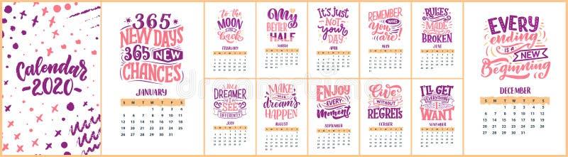 Composiciones modernas de las letras de la tipograf?a calendario 2020 con citas divertidas de la motivación Ilustraciones drenada fotografía de archivo